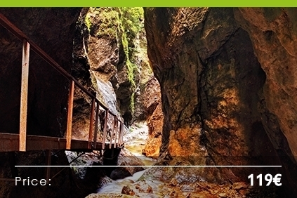 "Hiking in a National park<BR><H4>A spectacular system of gorges and canyons ""Jánošíkove diery""<H4>"
